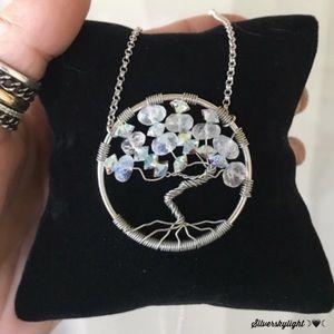 AAA moonstones & swarovski crystal tree of life